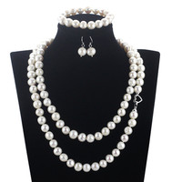 SNH off round 11mm A Bracelet & Necklace & Earrings 925 sterling silver Natural Cultured Freshwater Pearl Jewelry Sets