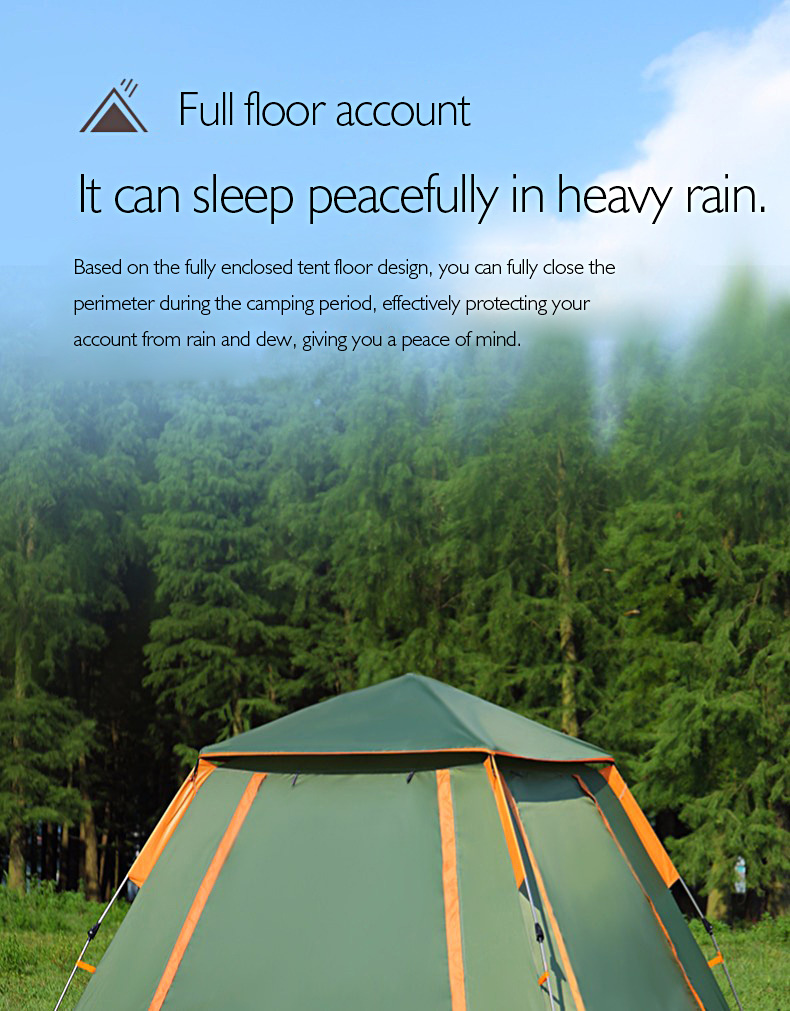 Fully automatic double layer black plastic coated silver glue thickened sunshade rain 5 8 people outdoor camping picnic tent - 2