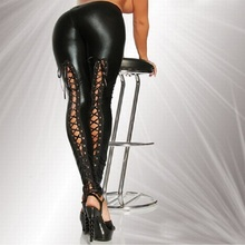 Women leather Torn Leggings