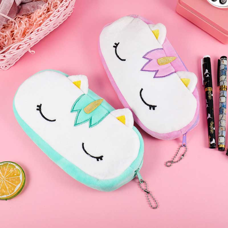 Unicorn Plush Pencil Case For Boys Girls School Cute Big Capacity Zipper Bag Pencil Box Kawaii School Supplies Stationery Gift