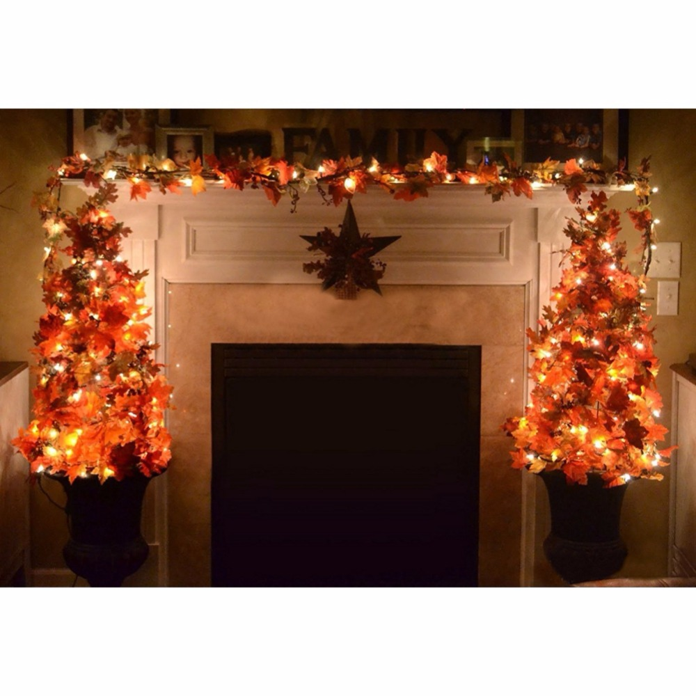Festvial Lighting Decoration Lighted Fall Garland, Thanksgiving Decor Halloween String Lights 8.2 Feet 20 LED, Thanksgiving Gift