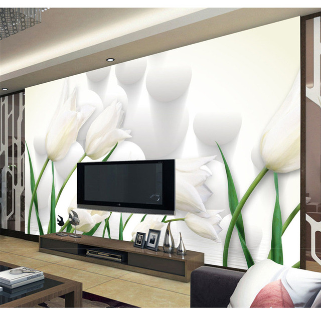 3D Photo Murals Wallpaper For Walls Diy Beautiful White Flowers