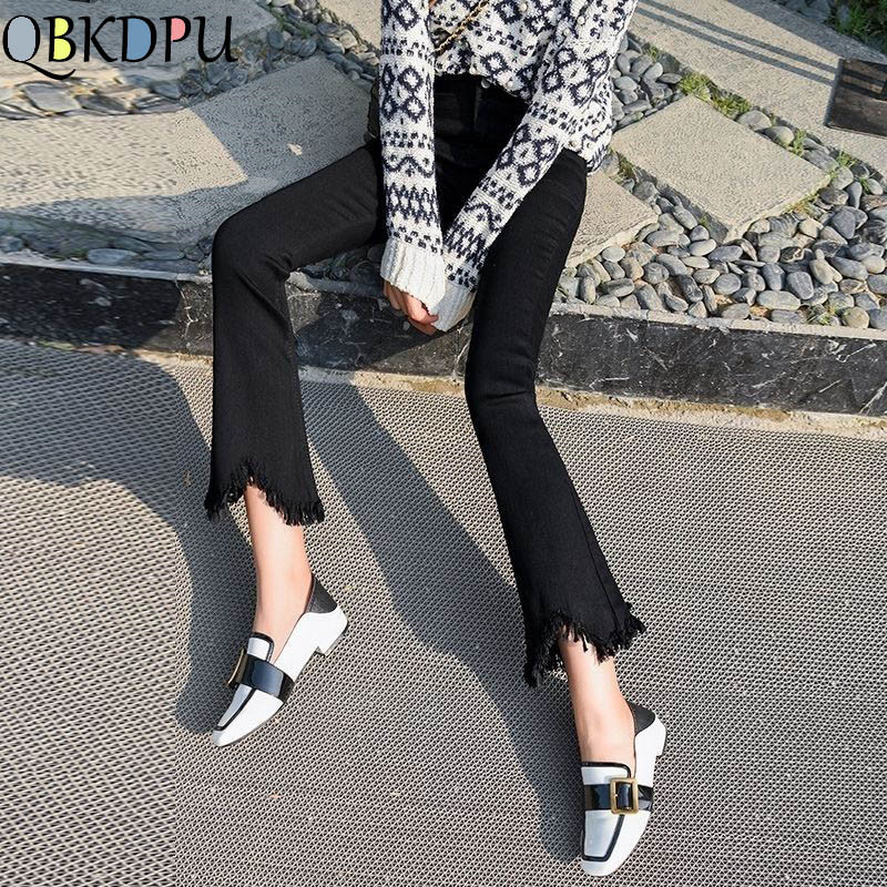 High Waist black flare Tassel Jeans Woman Thin Fringed Edges Ankle trousers Horn high waist skinny bell bottom Denim Pant Female(China)