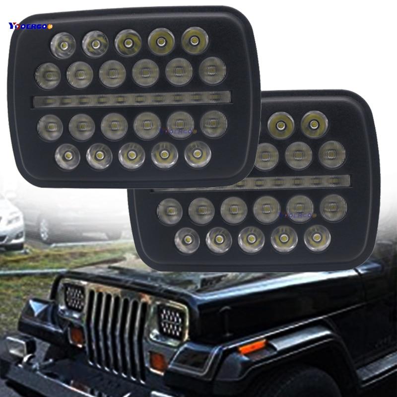 5X7 дюймов 70 Вт h4 светодиодный фар лампы 7x6 дюймов фары DRL для Jeep Wrangler YJ XJ грузовик FLD 50 60 70 80 Firebird Celica 240SX