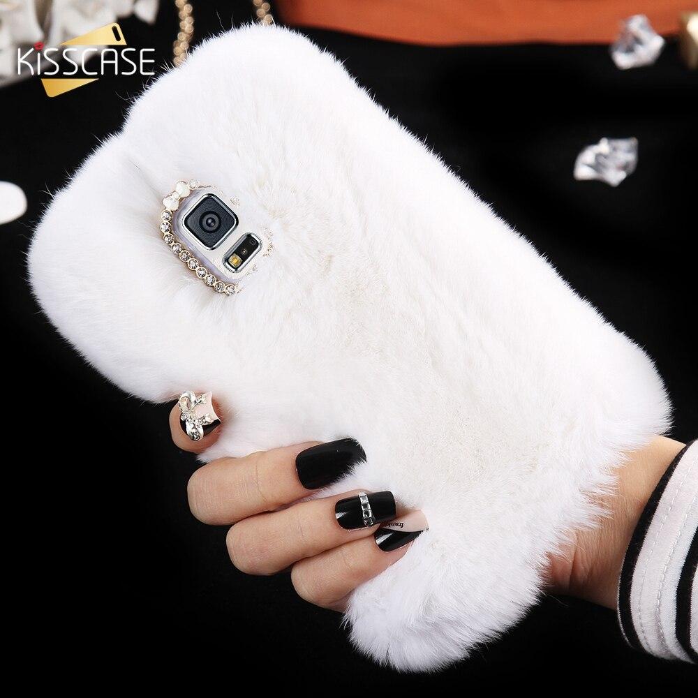 S7 KISSCASE Borda Bling Brilhante Diamante Coelho Cabelo Quente Fluffy Capa Para Galaxy Note 4 5 Para Samsung S5 S6 S7 borda Mais Peludo caso