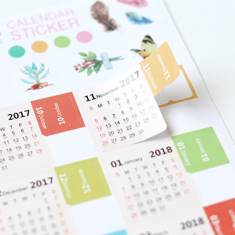 2pcspack calendar 2018 2019 mini korean stationery decorative stickers label calendar sticker organizer