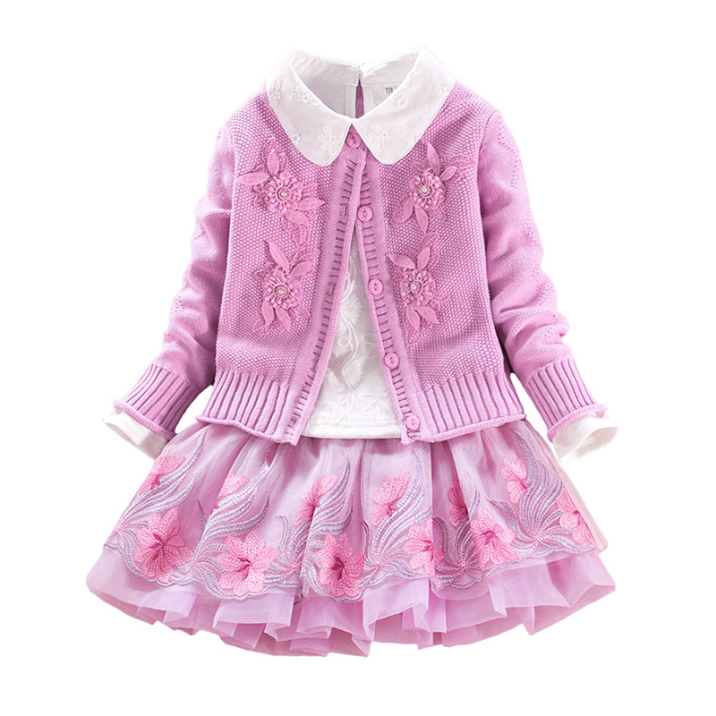 2018 Children Set Floral Girls Cotton Sweater Set Baby Coat+girls Shirt+lace Skirt 3pcs Suit Embroidered Princess for 4y-8y