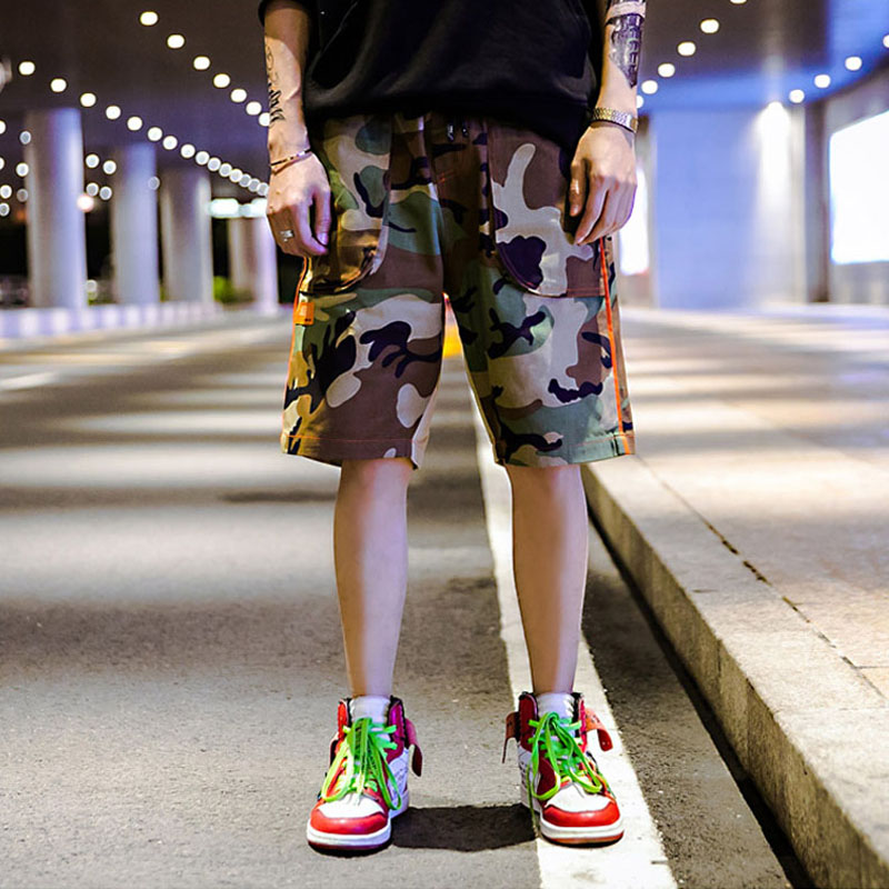Hfnf 2019 Summer Men's Casual Shorts Camouflage Print Stitching Hip Hop Style Sports Males Shorts