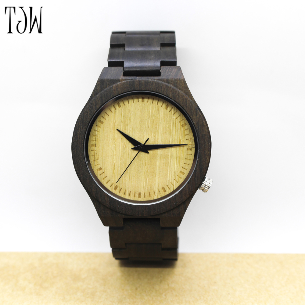 TJW Casual Handmade Nature Wood Bamboo Creative Men Women full wooden Band Strap Analog Wrist Watch Festival Memorial Day Gift watch mens nature wood bamboo genuine leather band wrist watch sport novel creative casual men women analog relogio masculino