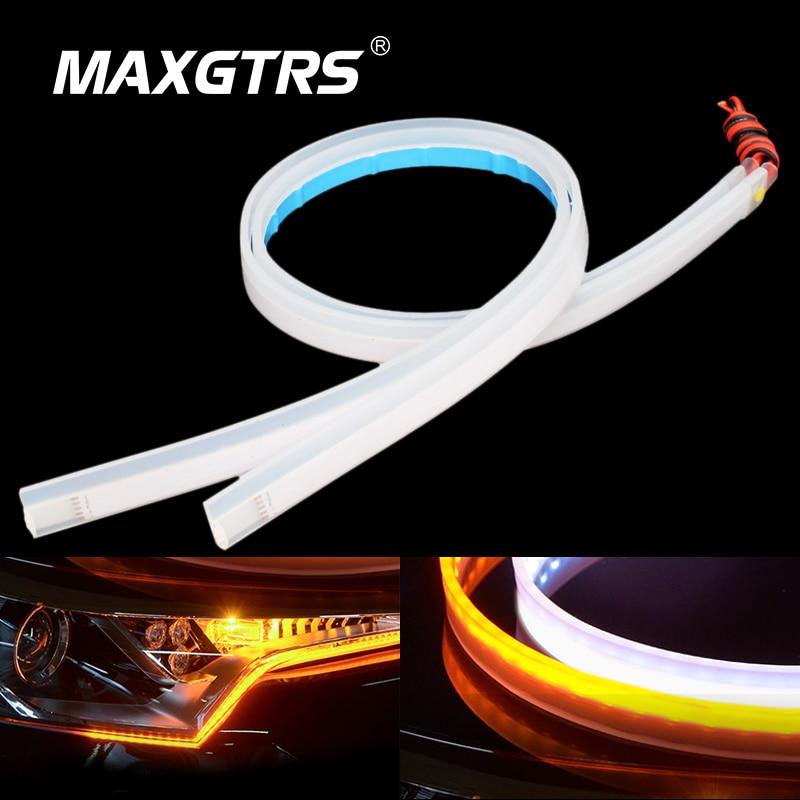 цена на 2x Ultrafine 30cm 45cm 60cm DRL Flexible LED Tube Style Daytime Running Lights Tear Strip Car Headlight Turn Signal Brake Lamps