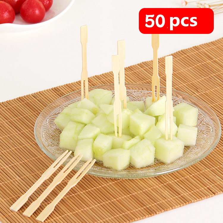 New50pcs/Set Creative Natural Health Bamboo Fruit Cake Dessert Fork Sign Children Household Disposable Insert Dessert Fork WLLTR