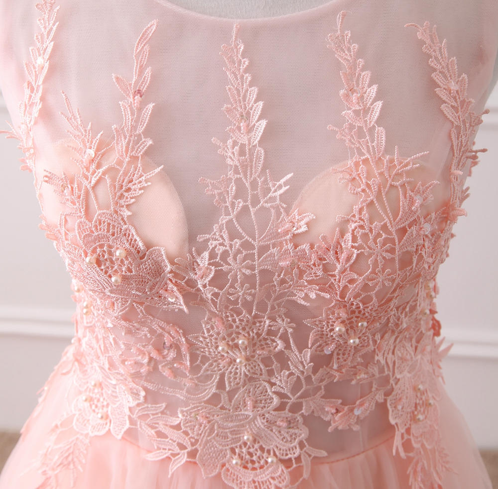 NOBLE WEISS Pink Appliques Beading Sexy Backless Court Train Evening Dresses Bride Banquet Elegant Party Prom Dress