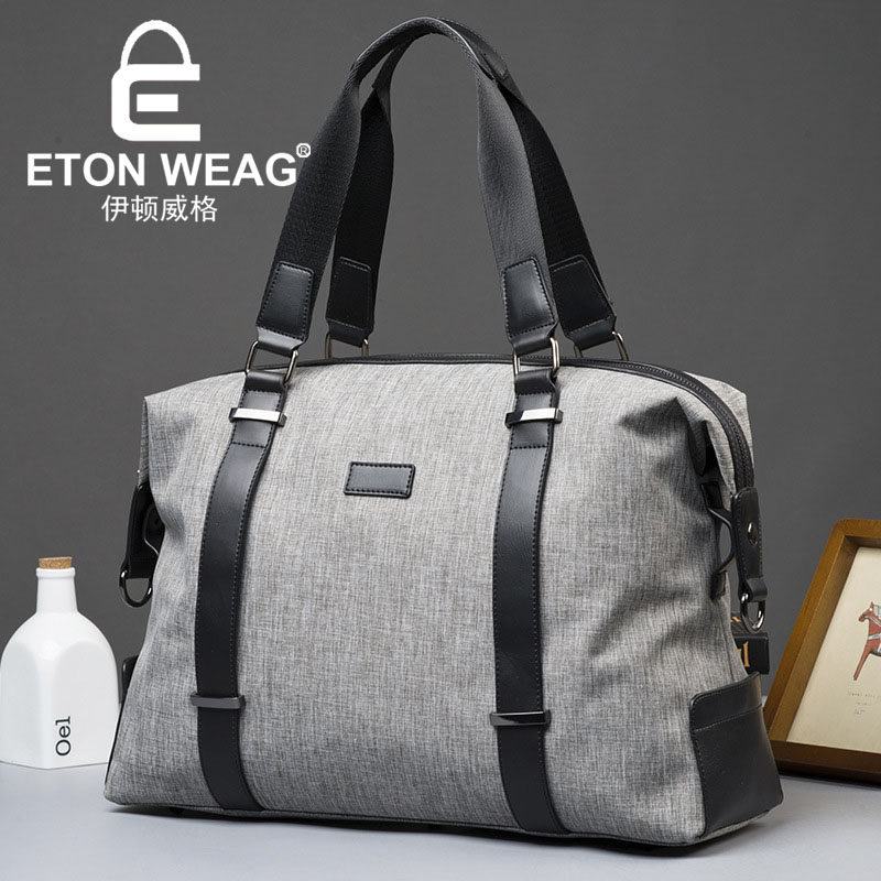ETONWEAG Brands Oxford Canvas Men Travel Bags Hand Luggage Grey Zipper Waterproof Duffle Bag Organizer Handbags Traveling Bag japanese pouch small hand carry green canvas heat preservation lunch box bag for men and women shopping mama bag
