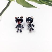 Купить с кэшбэком New 925 Silver Needle Cute Zircon Bear Stud Earrings Fashion Animal Earrings for Women Girls Jewellery Wedding Party Gift