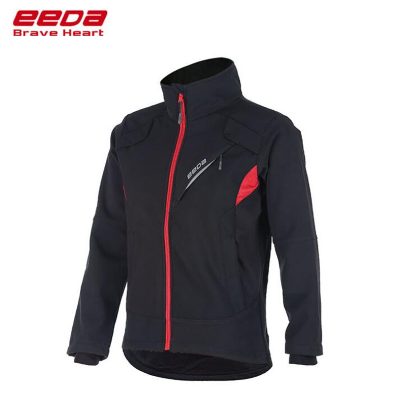 EEDA Cycling Jersey Winter Thermal Fleece Cycling Clothing Windproof Riding Bicycle Reflective Jacket Sportswear black thermal fleece cycling clothing winter fleece long adequate quality cycling jersey bicycle clothing cc5081
