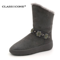 CLASSICONE 2017 Shoes Women Winter Flats Genuine Leather Wool Black Gray Snow Boots Designers Brand Fashion