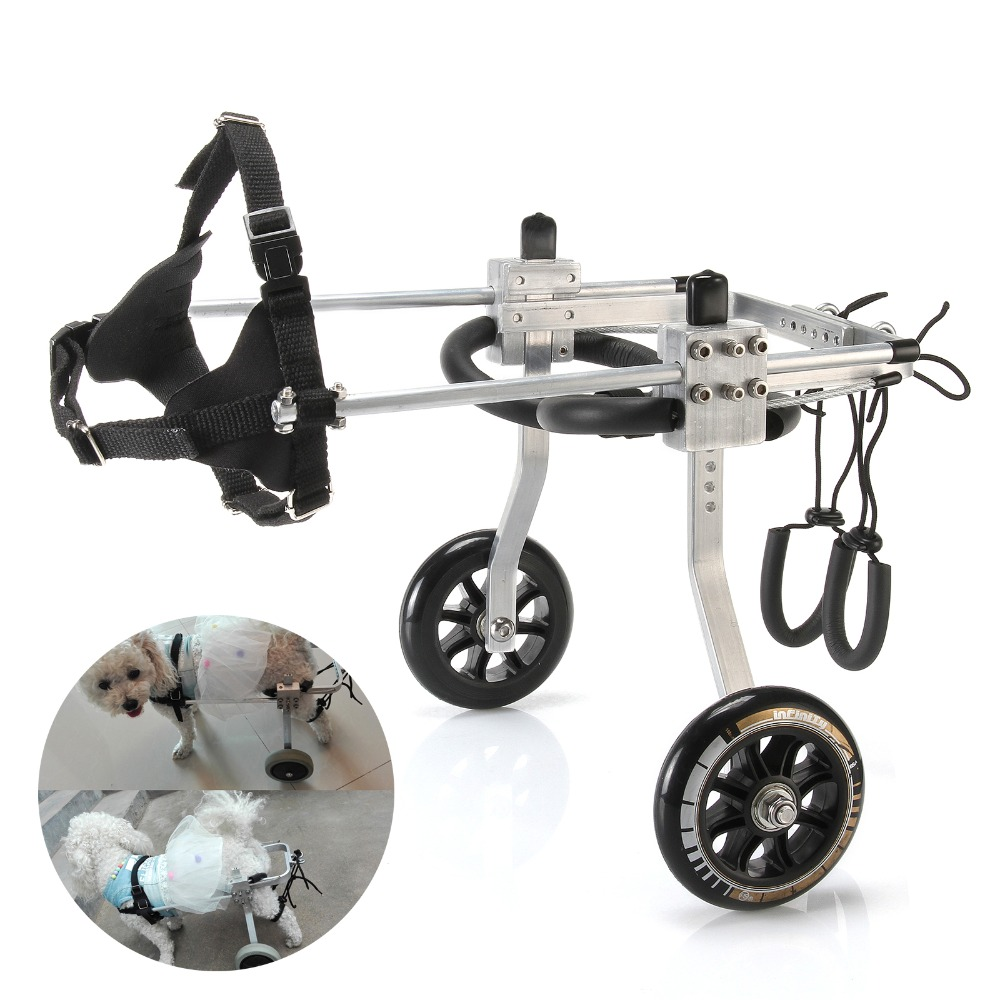 S M L Professional Aluminum Stainless Steel Pet Dog Wheelchair Weak Paralyzed Hind Legs 2 Wheel