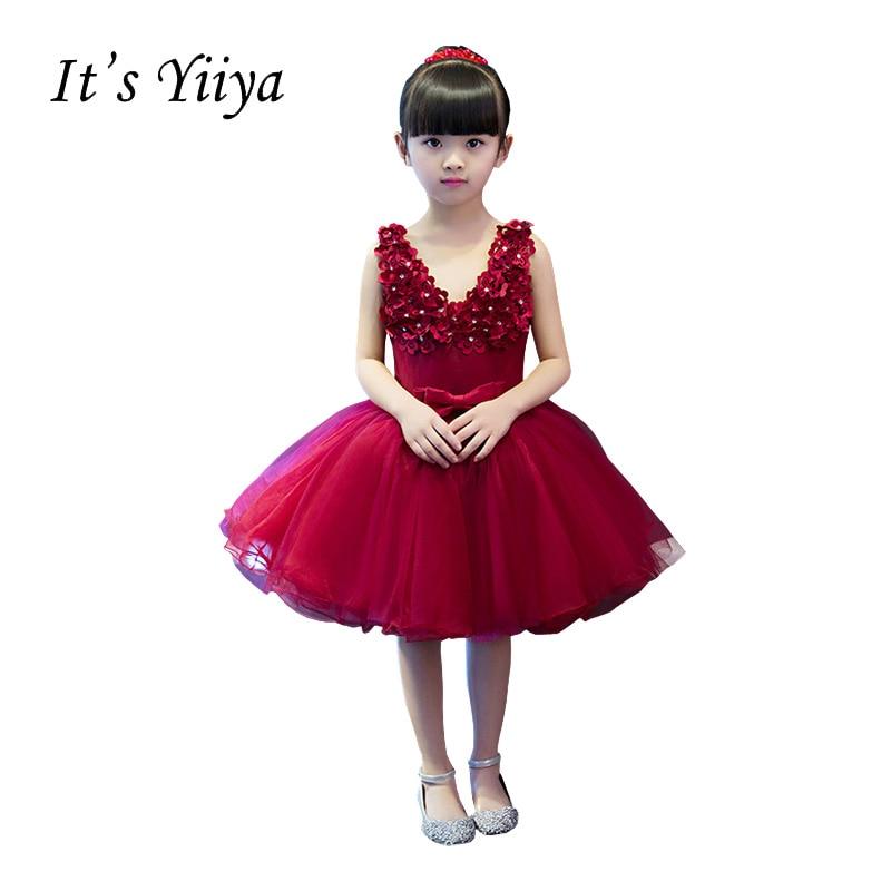 It's YiiYa Red V-neck Sleeveless Zipper   Flowers   Bow Appliques Knee-length Ball Gown Princess   Flower     Girls     Dress   Communion TS253