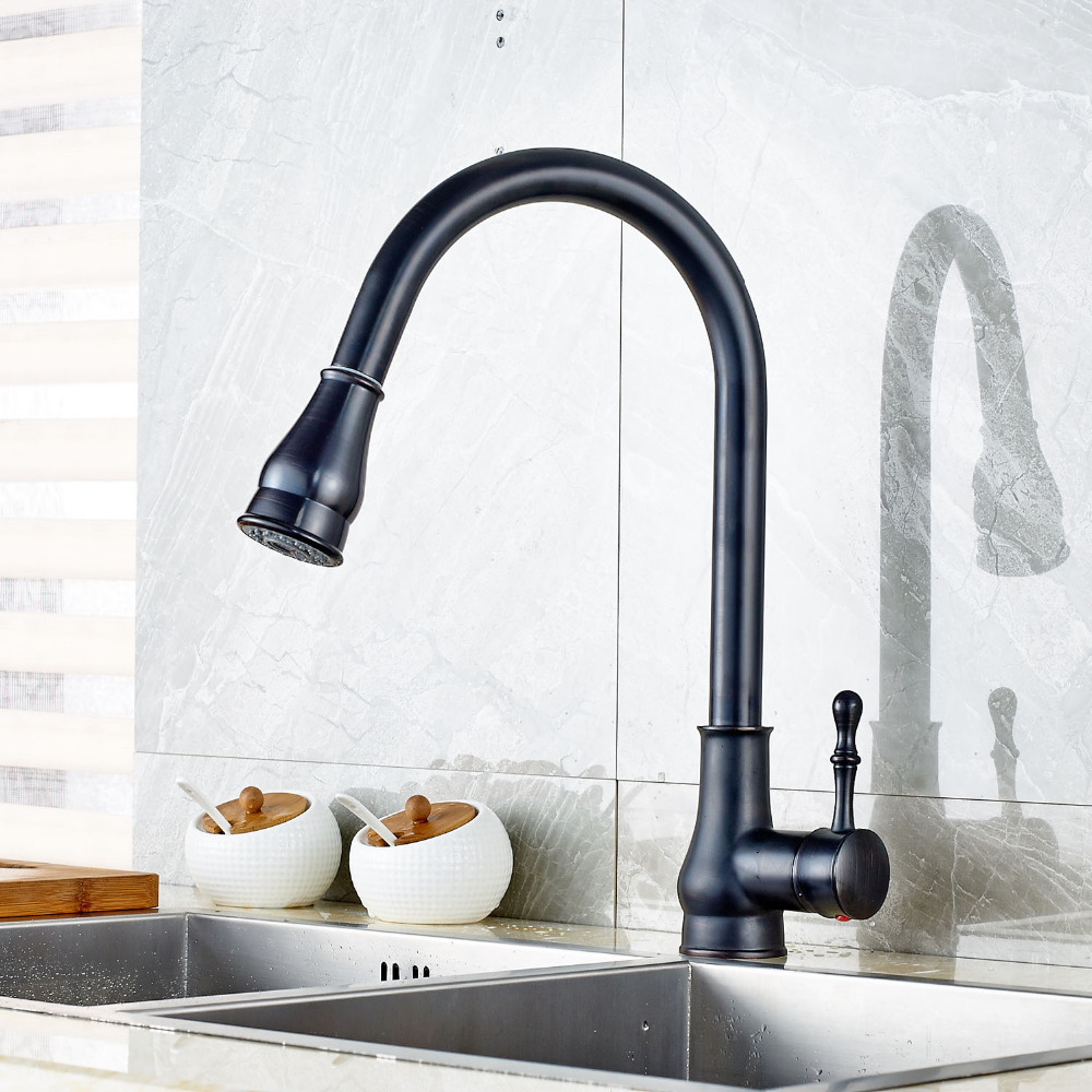 цена на Oil Rubbed Bronze Kitchen Sink Faucet Pull Out Sprayer Single Lever One Hole Mixer Faucet W/8 Cover Plate Deck Mount