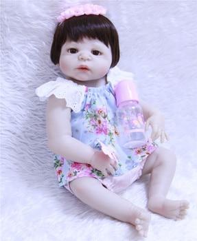 NPKCOLLECTION New 55cm Full Silicone Reborn Girl Baby Doll Toys Lifelike Newborn Princess Babies Doll kids Gift bebe toy reborn