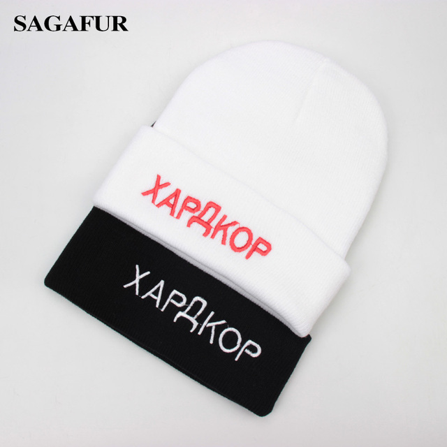 db9e85604128 Letter Embroidery Russian Beanies For Men Winter Cap Women's Soft Warm  Knitted Hat Female Fashion Brand Acrylic Skullies gorro