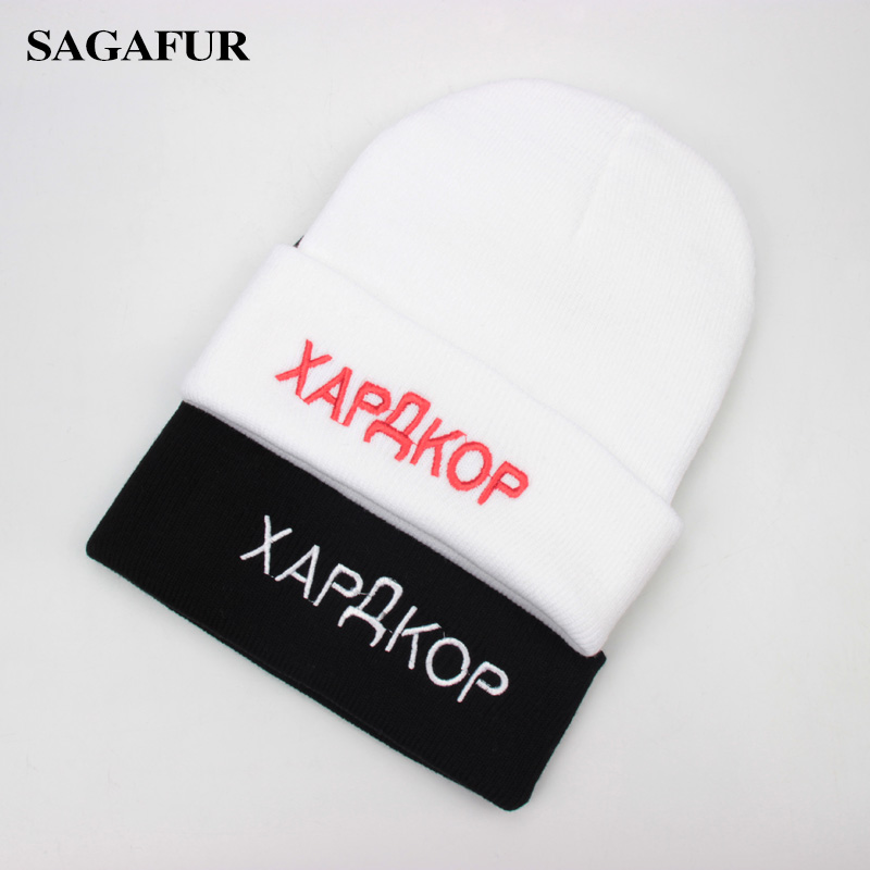 Letter Embroidery Russian   Beanies   For Men Winter Cap Women's Soft Warm Knitted Hat Female Fashion Brand Acrylic   Skullies   gorro