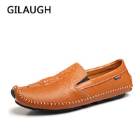 2017 Fashion Luxury Genuine Leather Men Shoes Crocodile Texture Men Flats Handmade Casual Popular Loafers Shoes