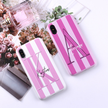Sexy Pink Lips Initial Custom Personalized Name Striped PU Leather Phone Case Cover For iPhone X 6 XS Max 7 7Plus 8 8Plus 5 SE zs002 colorful protective pu leather case for iphone 5 white deep pink yellow pink