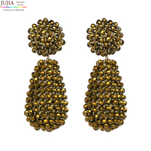 JUJIA 6 colors Womens fashion earrings hand made round crystal beads Glassberry