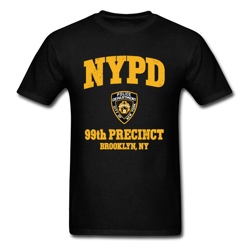 Men T-Shirts Police Logo Brooklyn Ny Vintage-Style Autumn New York Normal-Tops Newest