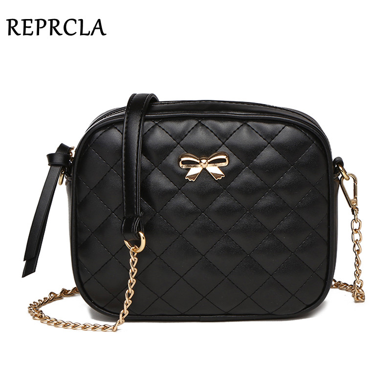 REPRCLA Fashion New Bowknot Women Messenger Bag Plaid PU Leather Shoulder Bag High Quality Chain Strap Crossbody Small Women Bag metallic pu chain crossbody bag