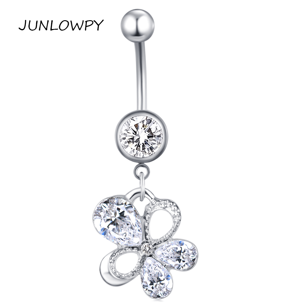 Junlowpy Flower Dangle Crystal Belly Button Piercing Bar Nombril Ombligo 14g Surgical Steel Navel Ring Fancy Body Jewelry 20pcs On Aliexpress Com