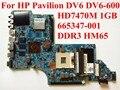 Para hp pavilion dv6 dv6-6000 placa madre del ordenador portátil 665347-001 hm65 ddr3 hd 7470 m 1 gb 100% probado nave rápida