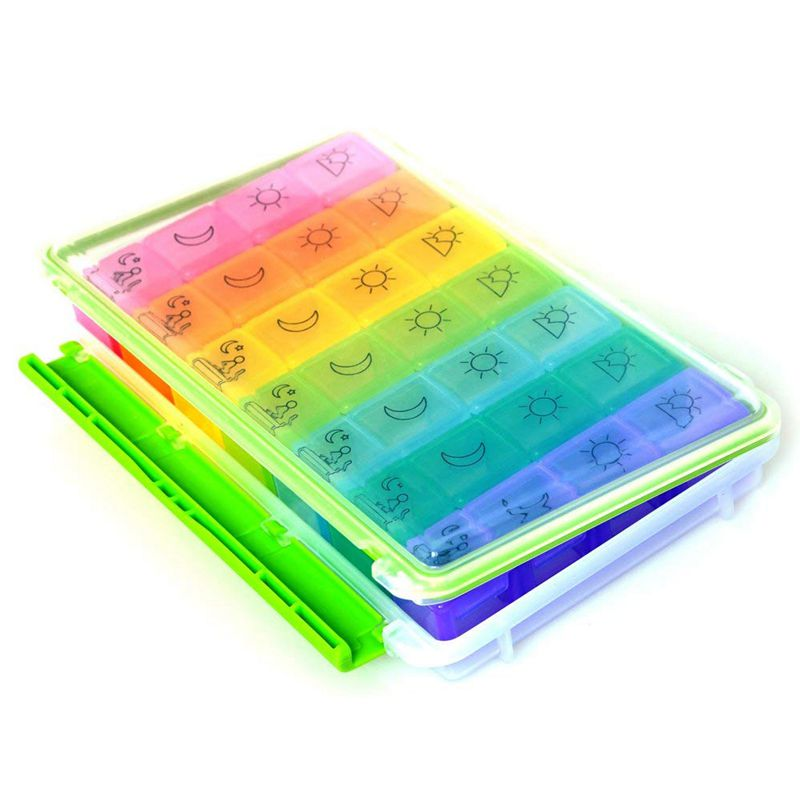 Weekly AM/PM Pill Box, Portable Travel Organizer (7-Day / 4-Times-A-Day) with Moisture-Proof Design and Large Compartment