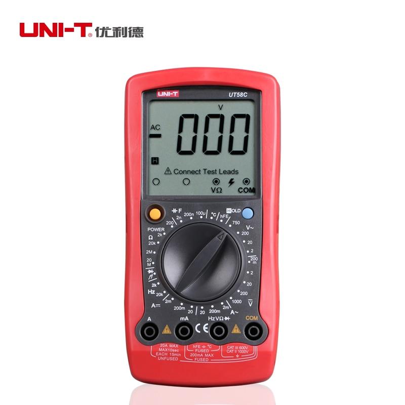 LCD Display Professional General Tester Ammeter Multitester Multimetro LCR Meter Digital Multimeters UNI T UT58C