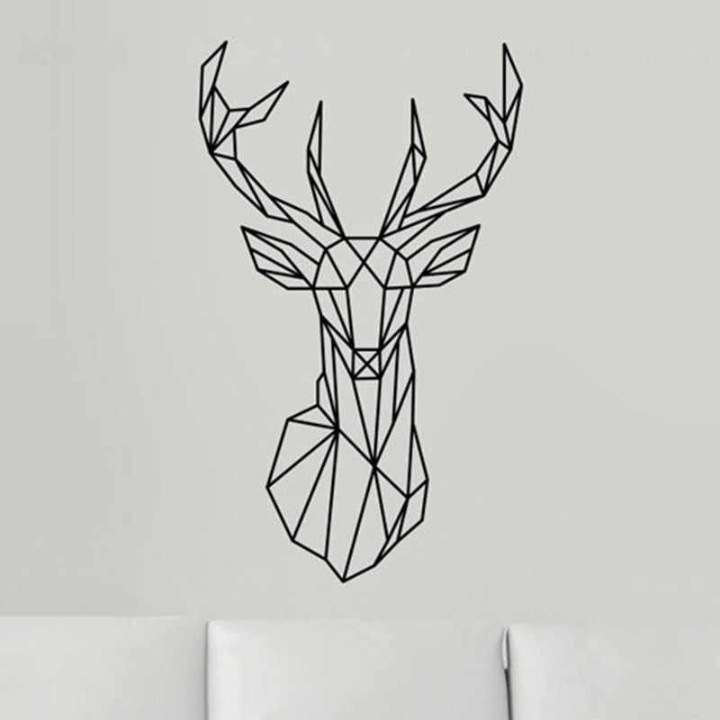 2016 Геометрия животных серии Новый Дизайн геометрический головы оленя, настенные Стикеры виниловые наклейки wall Книги по искусству пользовательские Домашний Декор Размеры 51x86 см