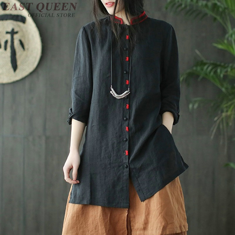 Tops Aa3422 Shirt Long Chinois Manches Vintage Complet 2 Stand Femelle Style Oriental Solide Traditionnel F Chemise 1 Brodé Col XwPukiTOZ