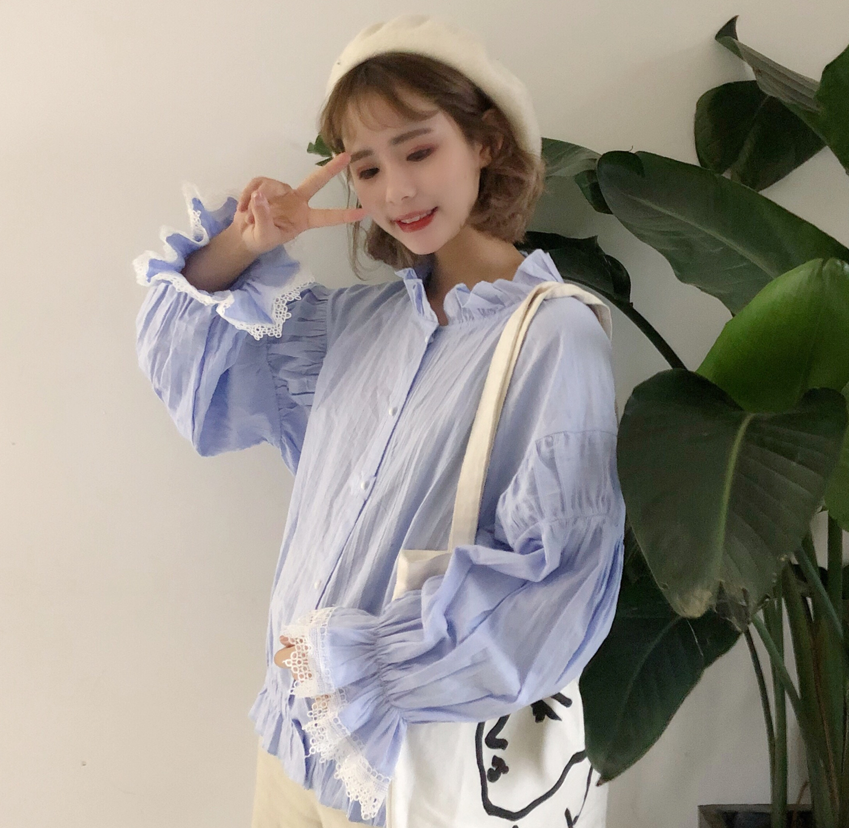 Chica Camisa Lolita Ruched Encaje Kawaii ziluolan Ruffles Grande Qianlvse Patchwork Manga Chemisier Suave Chemise Hem Blusa Femme Linterna qqrU7Hxw5