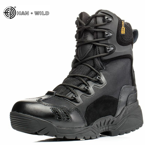 Hommes zipper en cuir bottes de combat imperméables bottes de combat commando haut pour aider les bottes tactiques eZWKn0ES