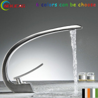Unique Design Deck Mount Full Brass Bathroom Basin Faucet Single Handle Mixer Taps Chrome Finished