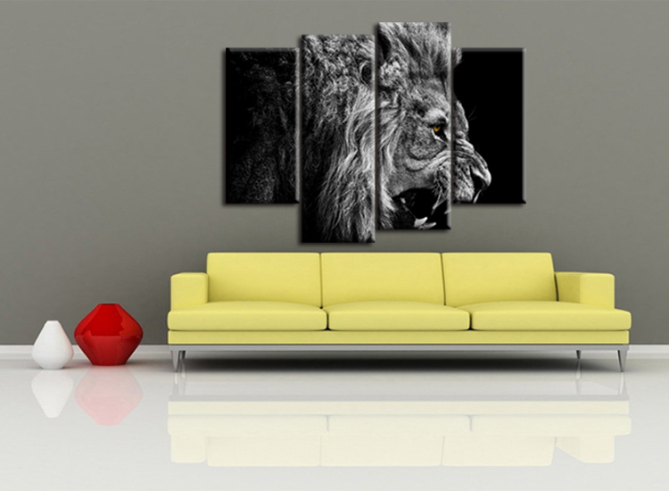 4 pieces / set HD Printed Animal Male Lion Wall Art Painting Canvas ...