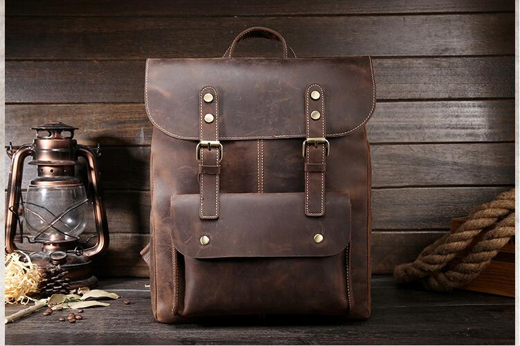 Luggage & Bags Obedient Vintage Crazy Horse Genuine Leather Backpack Men Handmade Retro Rucksack Mens Travel Backpacks Brown Laptop Backpack #l1003 Sales Of Quality Assurance Men's Bags