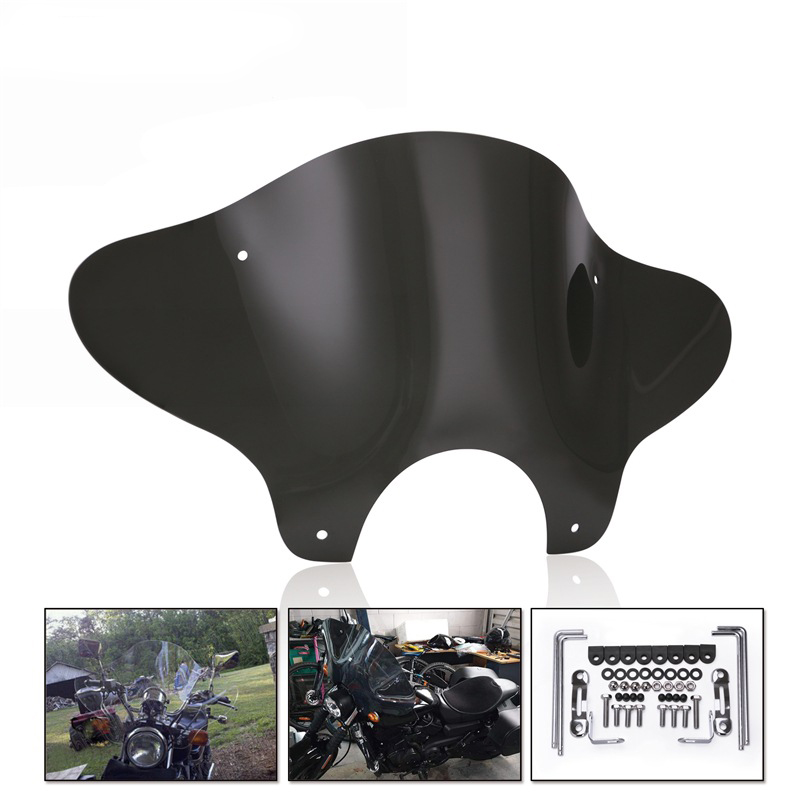 For Harley Cruiser Chopper Touring Custom Universal Motorcycle Windshield Windscreen With Mounting Bracket