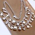 El envío Libre Al Por Mayor de Joyería de Moda Set, Colgando trece 2 Unidades set, 925 plata Esterlina Necklace & Bracelet & pendientes T061