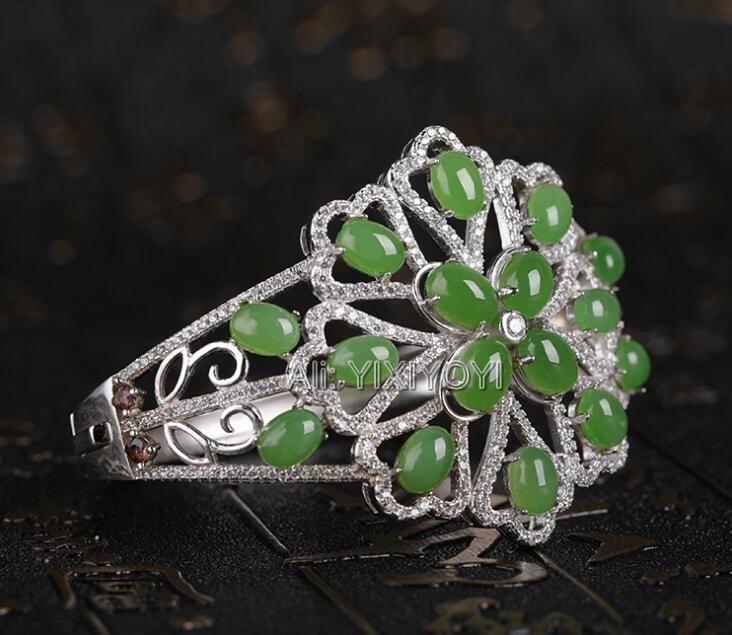 Beautiful 925 Silver + Green HeTian Jade Jasper Beads Inlay Lucky Flower Cuff Bracelet Gift Bracelets Certificate Fine Jewelry