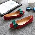 2016 Весна Лето Женщин Плоские Туфли Замшевые Лук Обувь Chaussure Femme Поскользнуться На Острым Носом Лодка Обуви Причинным Офис обувь