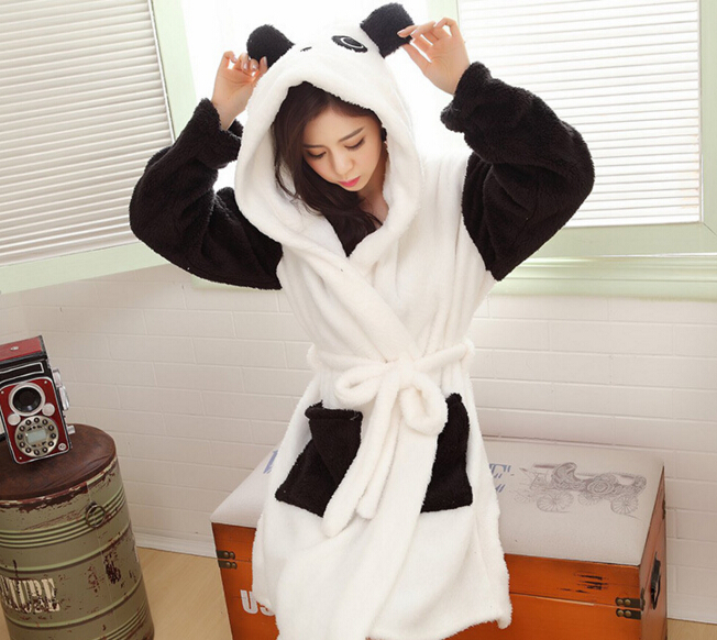 Women winter warm flannel bathrobes cartoon panda design pajama women winter warm flannel bathrobes cartoon panda design pajama thick long spa robe shower in robes from womens clothing accessories on aliexpress sciox Image collections