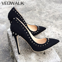 Veowalk Brand Rivets Designer Women Pointed Toes Pumps Lady Suede Stilletos Sexy High Heels Dress Shoes Woman Customized Accept