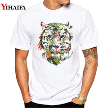 T-Shirt Men Stylish 3D Print Floral Tiger Graphic Tees Casual T Shirts White Tee  O Neck Animal Summer Tops недорого