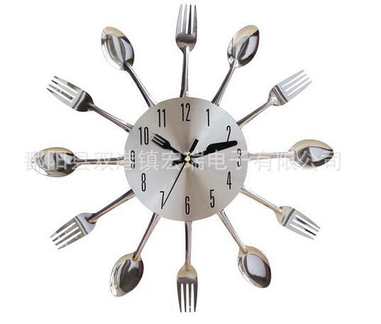 Cool Stylish Modern Design Wall Clock Silver Kitchen Cutlery Utensil Vintage Design Wall Clock Spoon Fork Home Decor Wanduhr